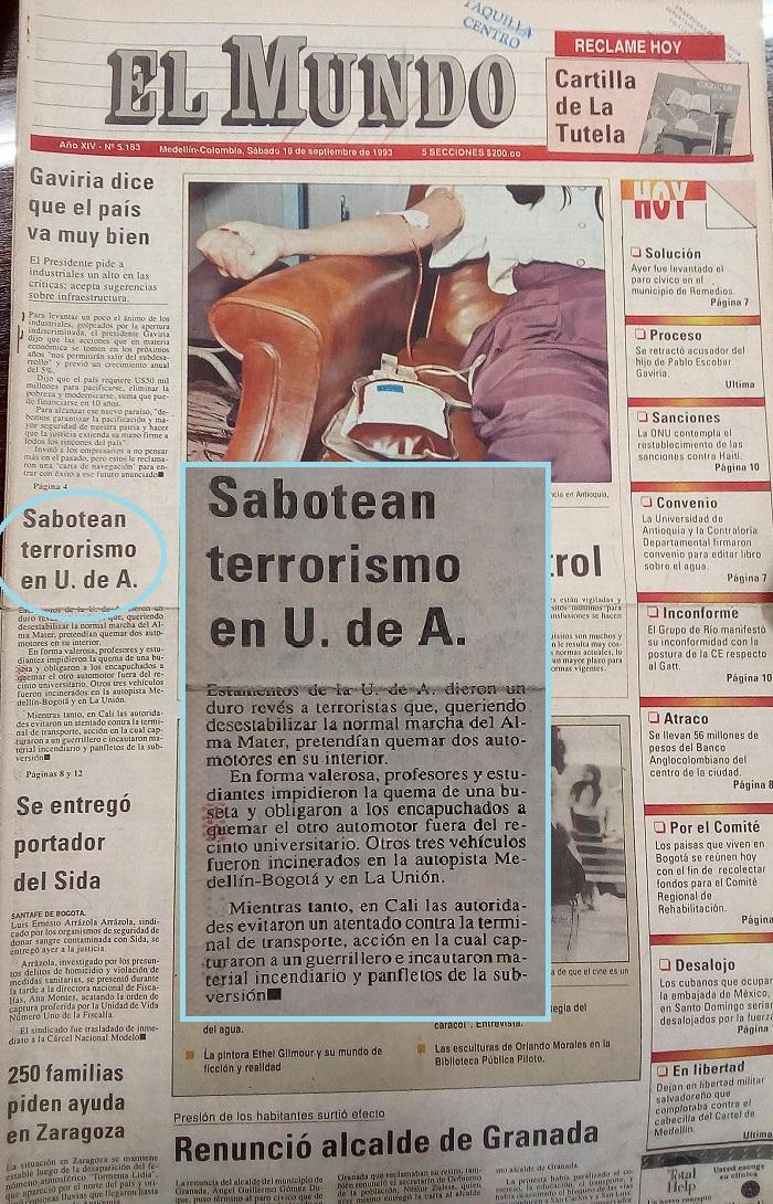 Fotografías tomadas de la edición del 18 de septiembre de 1993 del periódico El Mundo y del periódico El Colombiano.