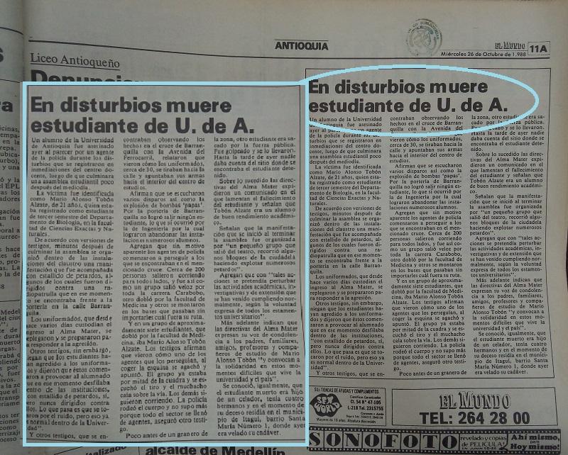 Fotografías tomadas de la edición del 26 de octubre de 1988 del periódico El Mundo y del 4 de noviembre del periódico El Colombiano