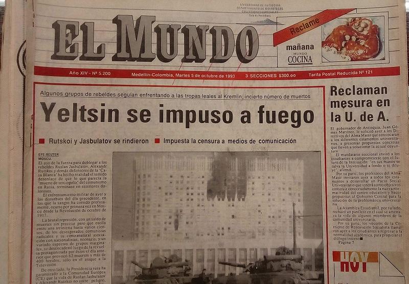 Fotografías tomadas de la edición del 5 de octubre de 1993 del periódico El Mundo y del periódico El Colombiano.