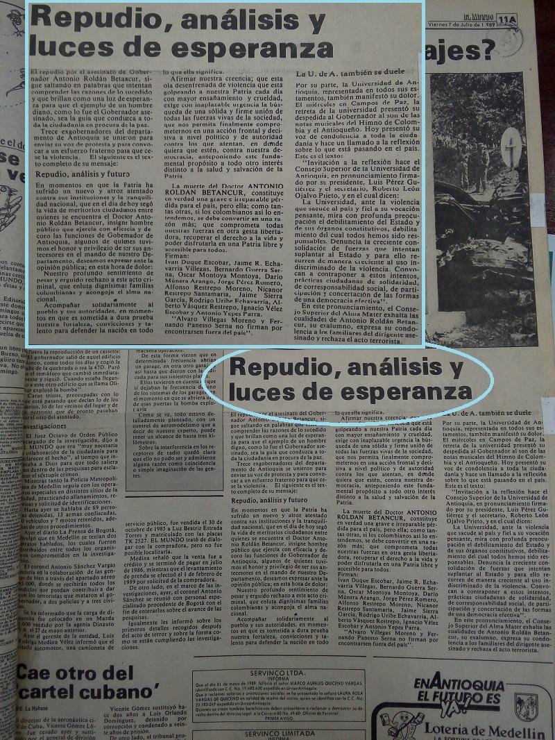 Fotografías tomadas de la edición del 7 de julio de 1989 del periódico El Mundo