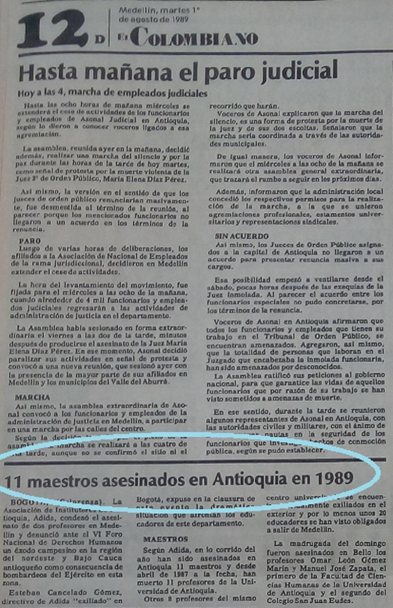 Fotografías tomadas de la edición del 1 de agosto de 1989 del periódico El Colombiano