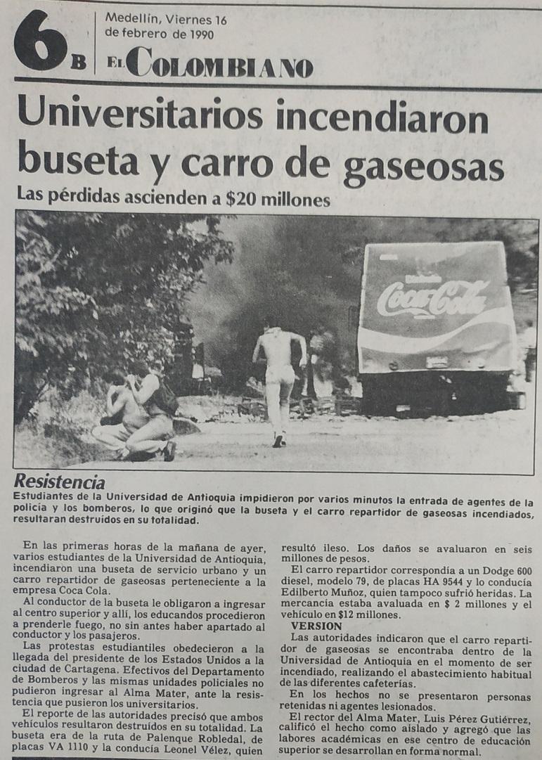 Fotografías tomadas de la edición del 16 de febrero de 1990 del periódico El Colombiano
