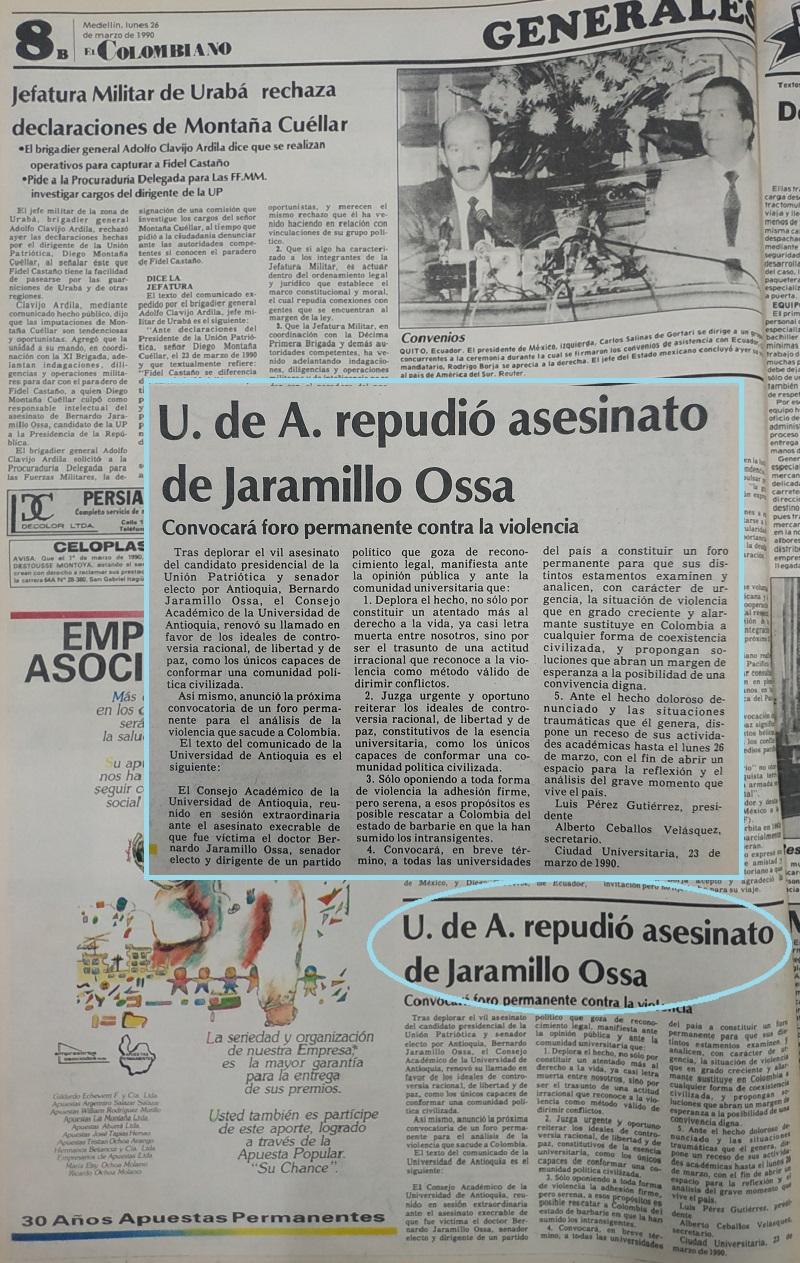 Fotografías tomadas de la edición del 26 de marzo de 1990 del periódico El Colombiano