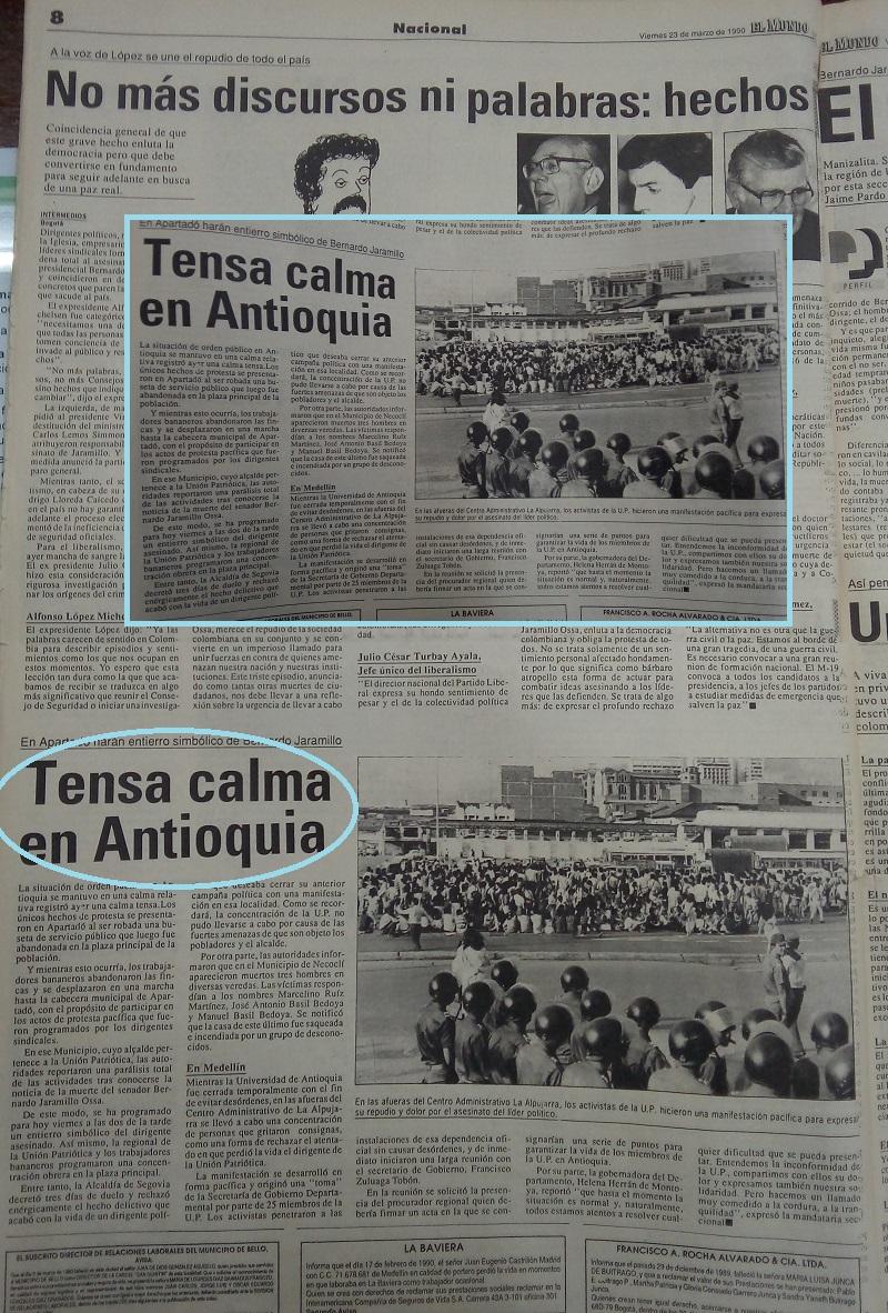 Fotografías tomadas de la edición del 23 de marzo de 1990 del periódico El Mundo y del 24 de marzo del periódico El Colombiano