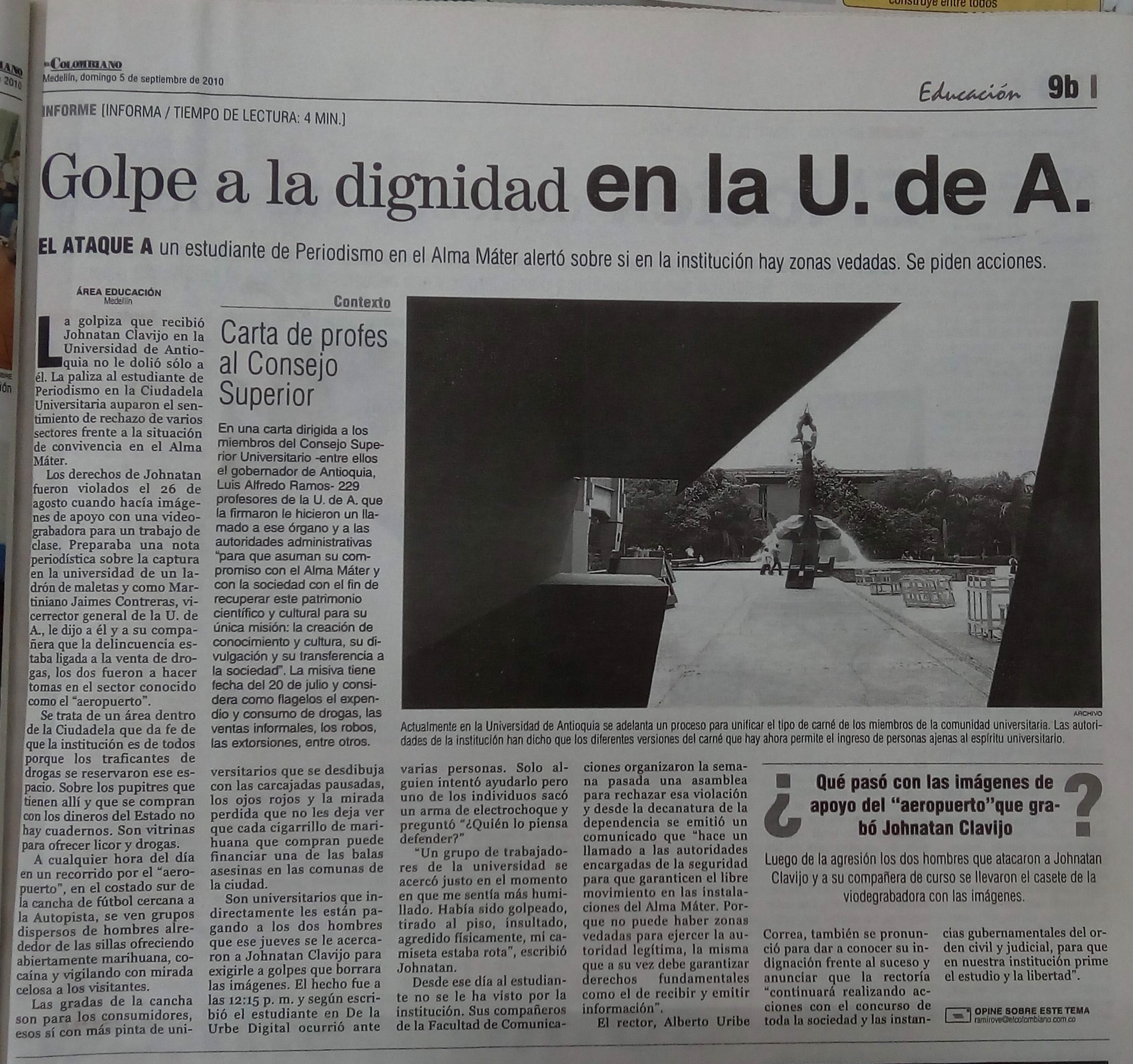 Fotografía tomada de la edición del 8 de mayo de 2010 del periódico El Colombiano