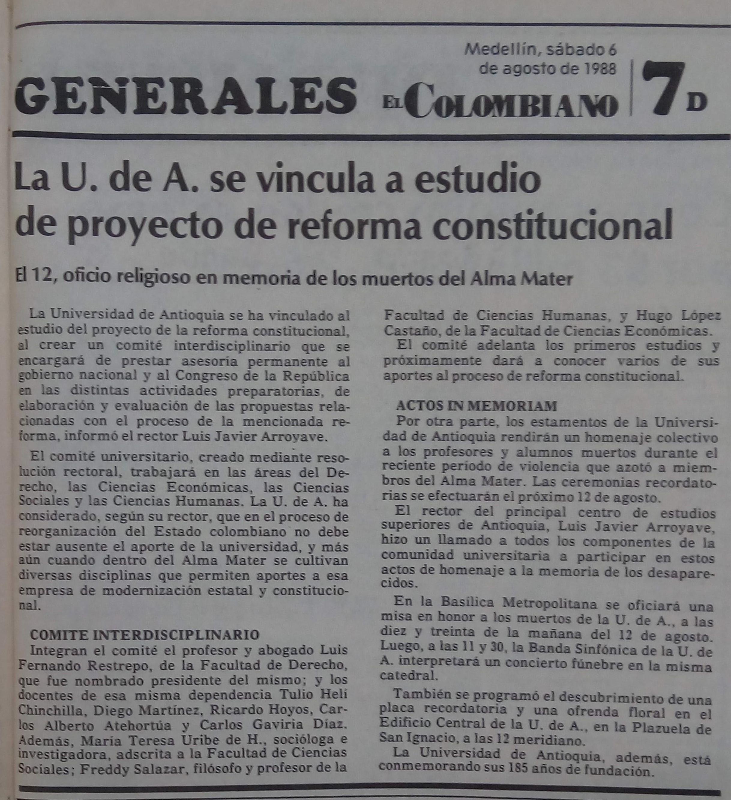 Fotografía tomada de la edición del 6 de agosto de 1988 del periódico El Colombiano