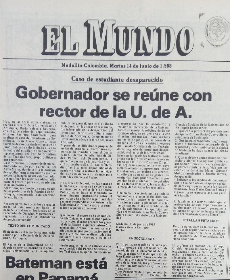 Fotografía tomada de la edición del 14 de junio de 1983 del periódico El Mundo.