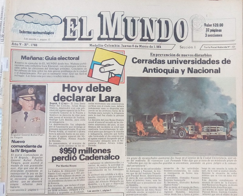 Fotografía tomada de la edición del 8 de marzo de 1984 del periódico El Mundo.