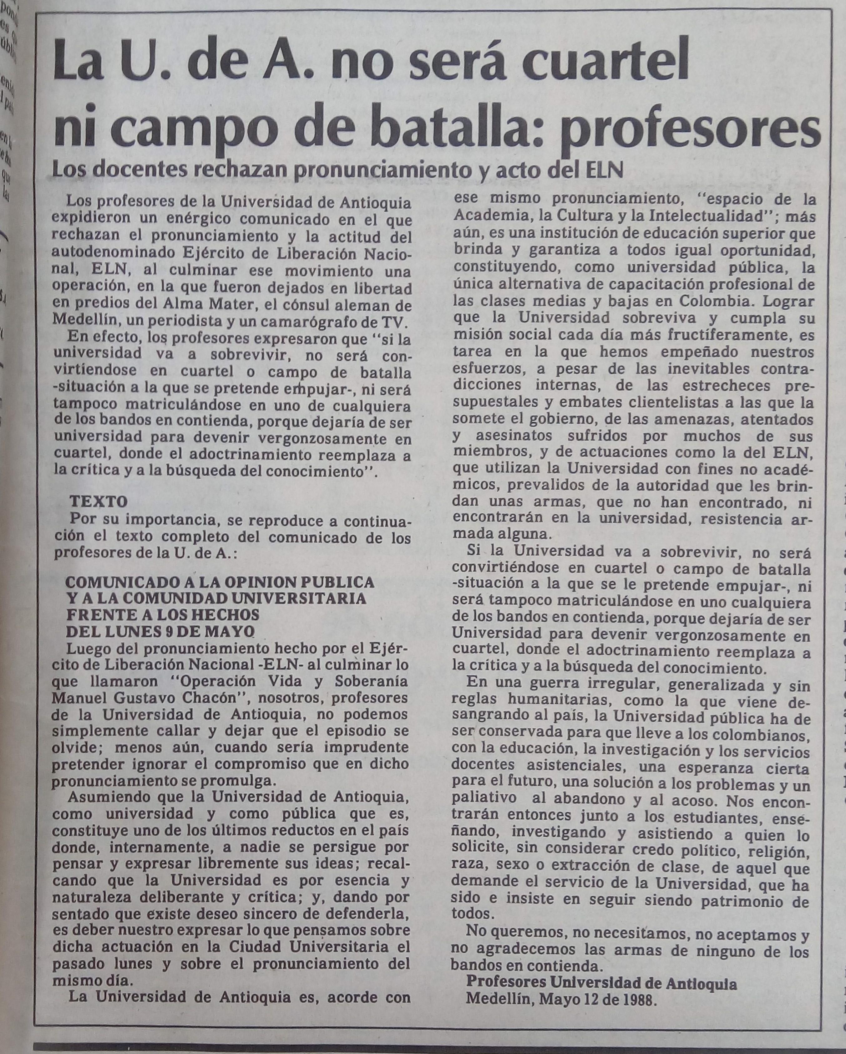 Fotografía tomada de la edición del 14 de mayo de 1988 del periódico El Colombiano