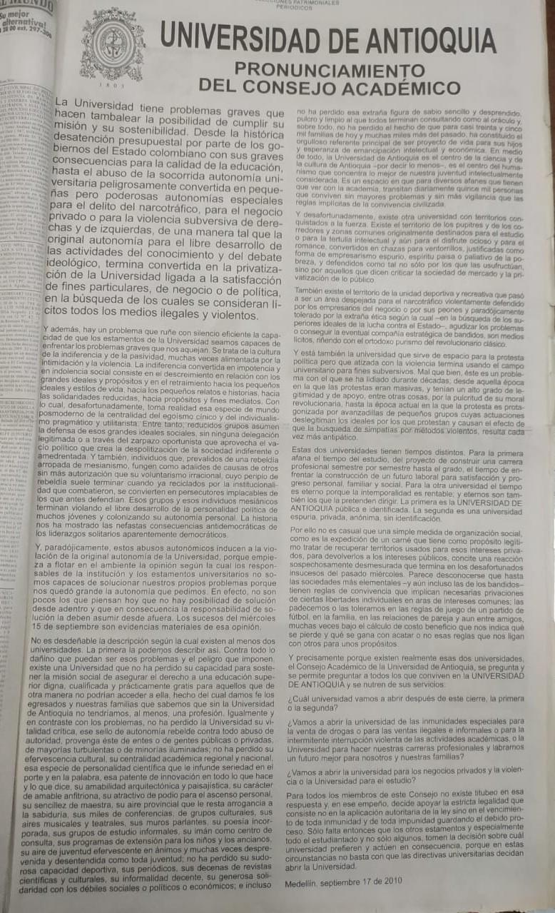 Fotografías tomadas de la edición del 18 de septiembre de 2010 del periódico El Colombiano