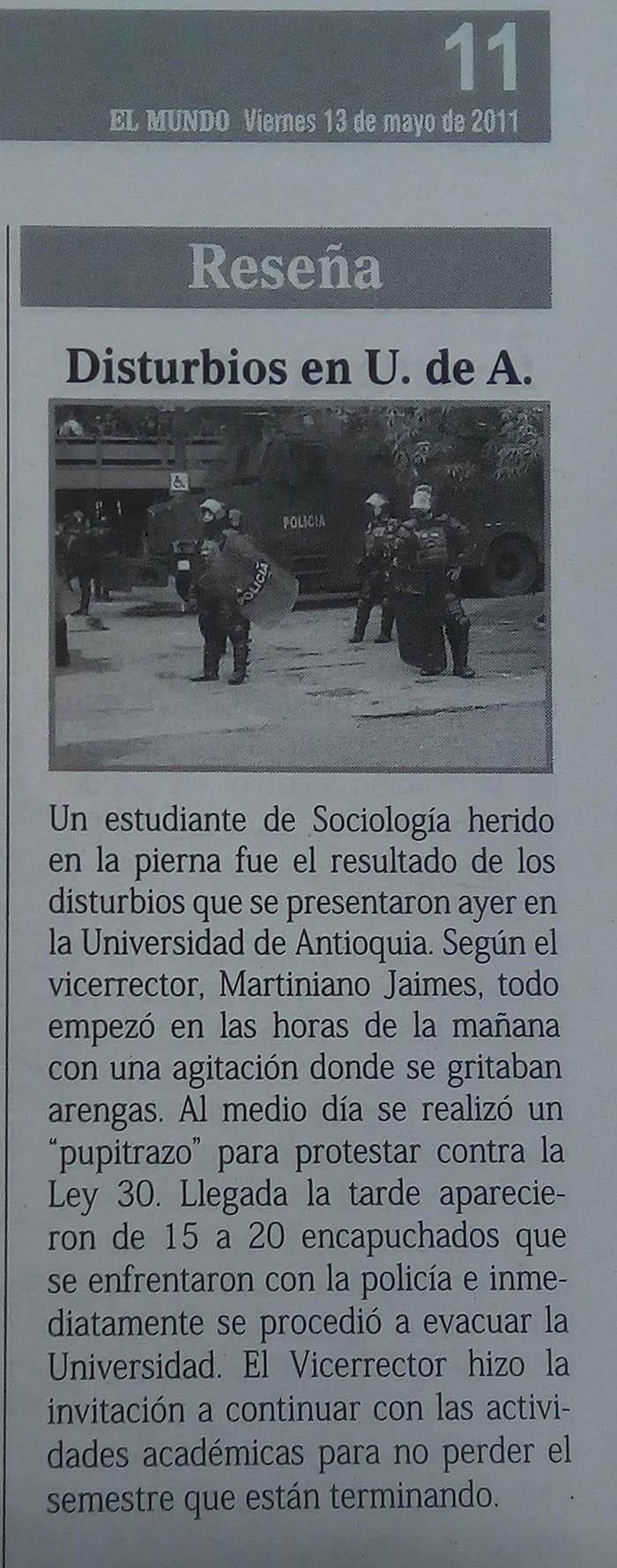 Fotografías tomadas de la edición del 13 de mayo del 2011 del periódico El Mundo