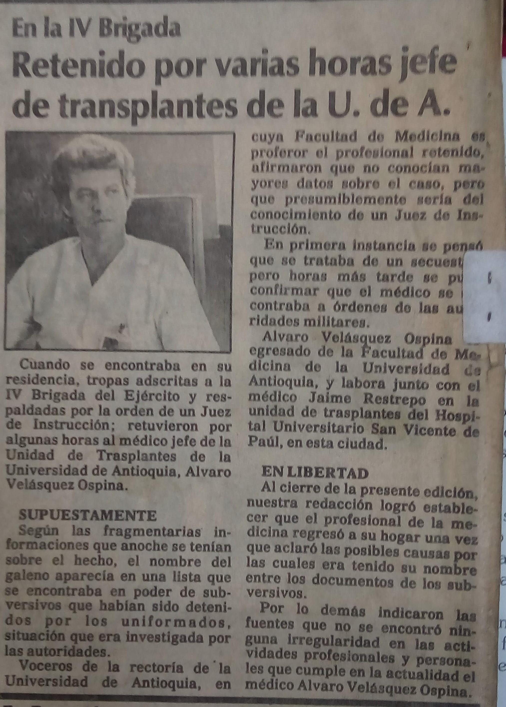 Fotografía tomada de la edición del 30 de junio de 1988 del periódico El Colombiano