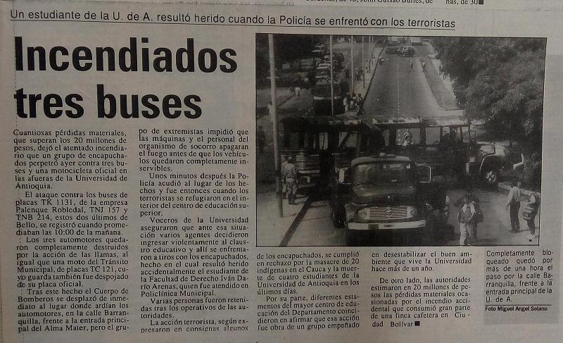 Fotografías tomadas de la edición del 20 de agosto de 1991 del periódico El Colombiano.