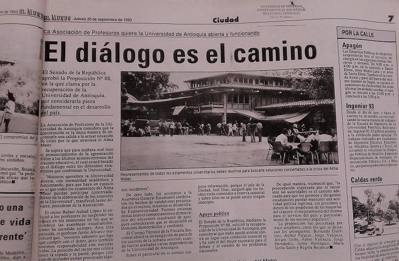 Fotografías tomadas de la edición del 30 de septiembre de 1993 del periódico El Mundo y del 29 de septiembre de 1993 del periódico El Colombiano.