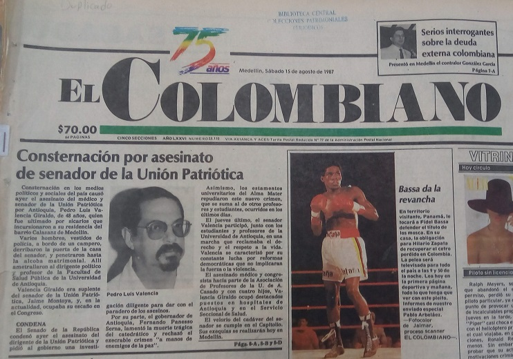 Fotografía tomada de la edición del 15 de agosto de 1987 del periódico El Colombiano.