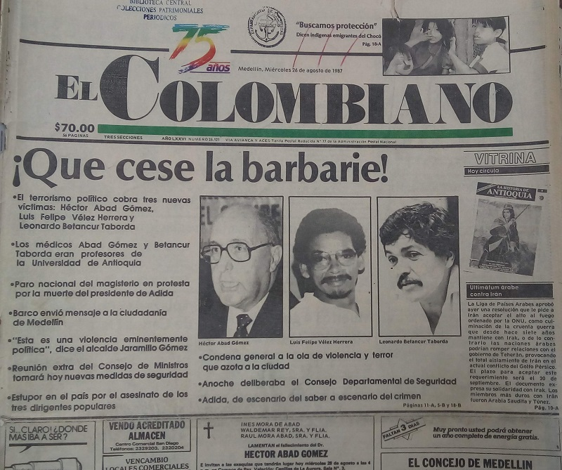 Fotografía tomada de la edición del 26 de agosto de 1987 del periódico El Colombiano.