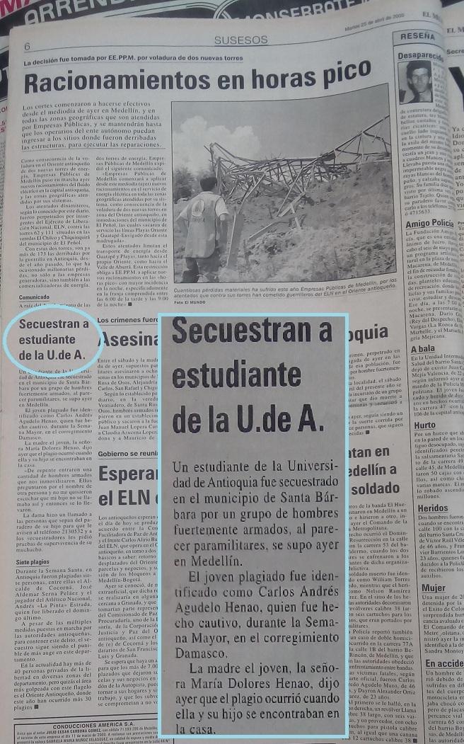Fotografía tomada de la edición del 25 de abril del 2000 del periódico El Mundo