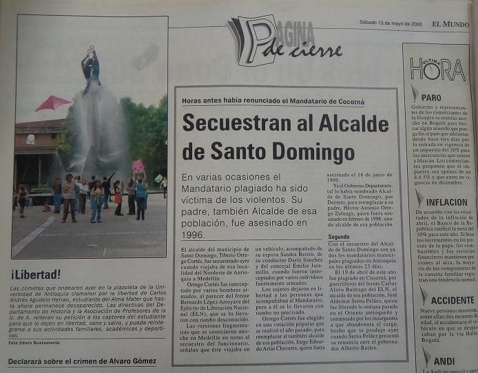 Fotografía tomada de la edición del 13 de mayo del 2000 del periódico El Mundo.
