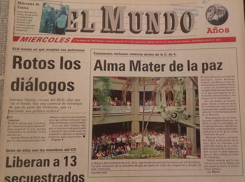 Fotografía tomada de la edición del 17 de febrero de 1999 del periódico El Mundo.