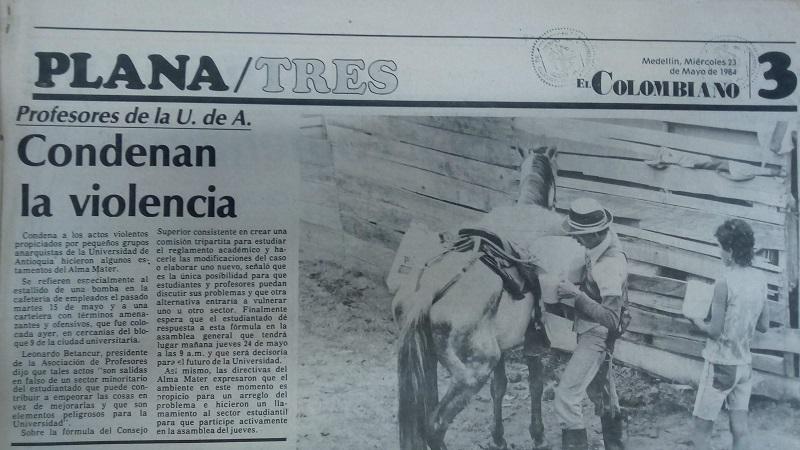 Fotografía tomada de la edición del 23 de mayo de 1984 del periódico El Colombiano