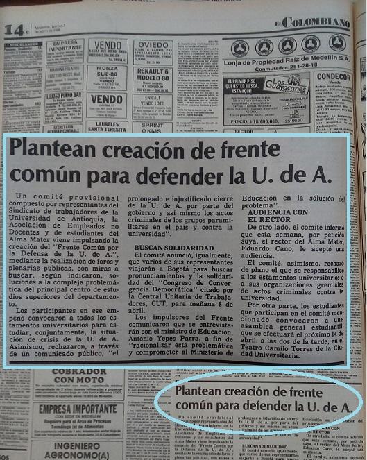 Fotografía tomada de la edición del 7 de abril de 1988 del periódico El Colombiano.