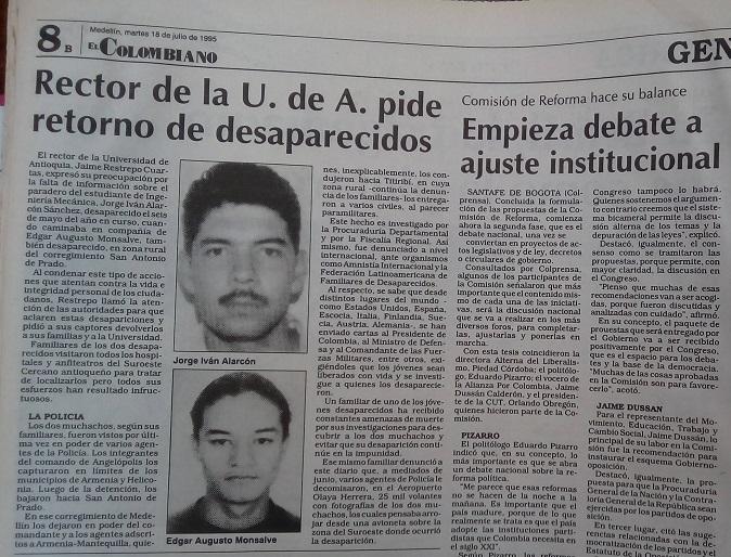 Fotografía tomada de la edición del 18 de julio de 1995 del periódico El Colombiano.