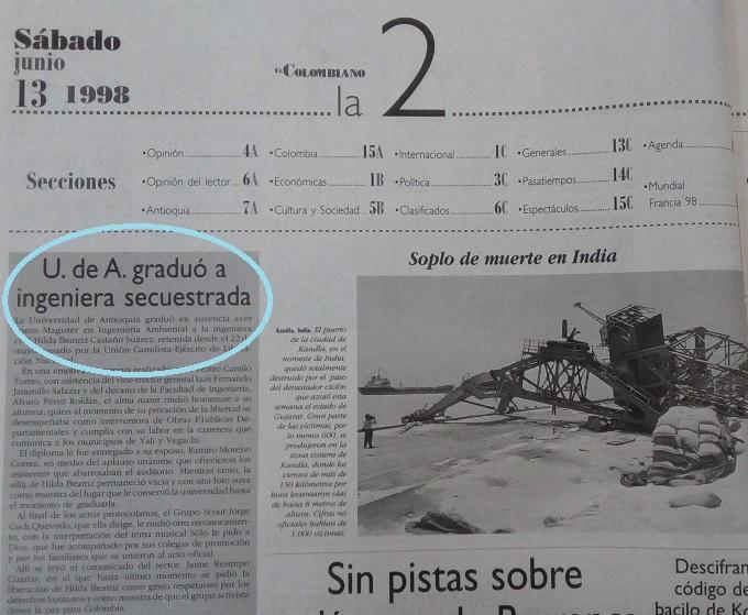 Fotografía tomada de la edición del 13 de junio de 1998 del periódico El Colombiano.