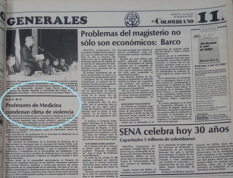 Fotografía tomada de la edición del 20 de agosto de 1987 del periódico El Colombiano.