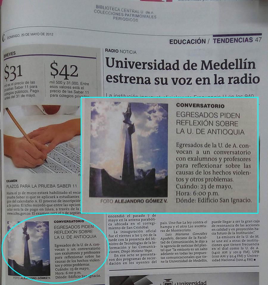 Fotografías tomadas de la edición del 20 de mayo de 2012 del periódico El Mundo