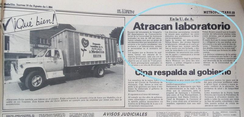 Fotografía tomada de la edición del 16 de agosto de 1984 del periódico El Mundo.