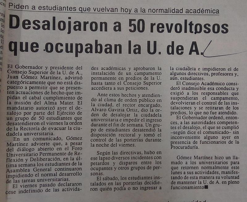 Fotografías tomadas de la edición del 8 de novembre de 1993 del periódico El Mundo y del periódico El Colombiano.