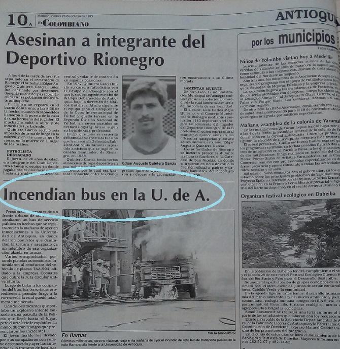 Fotografía tomada de la edición del 20 de octubre de 1995 del periódico El Colombiano.
