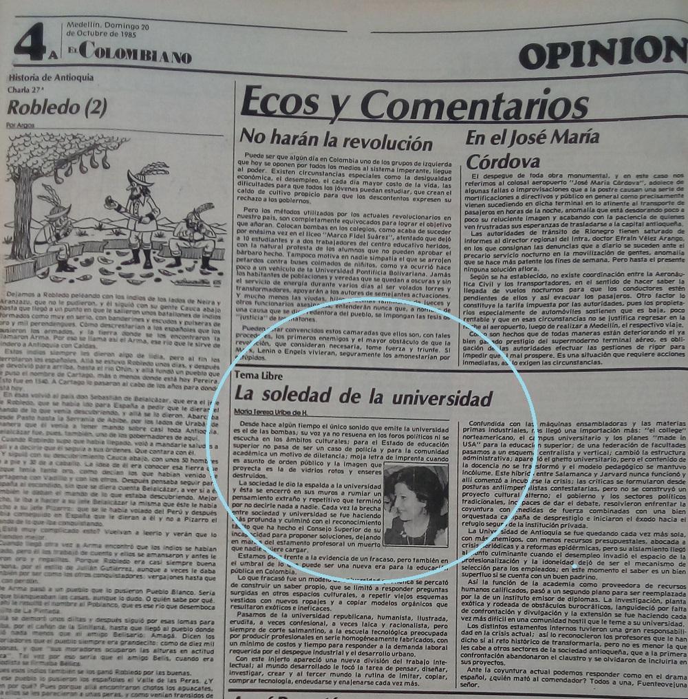 Fotografía tomada de la edición del 20 de octubre 1985 del periódico El Colombiano.
