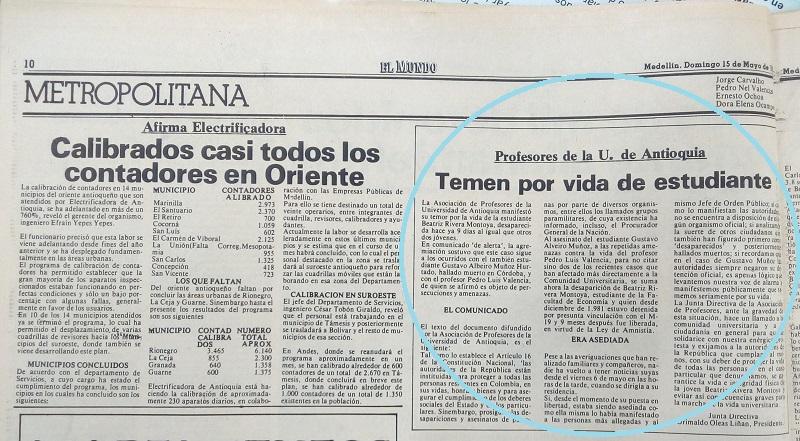 Fotografía tomada de la edición del 15 de mayo de 1983 del periódico El Mundo.