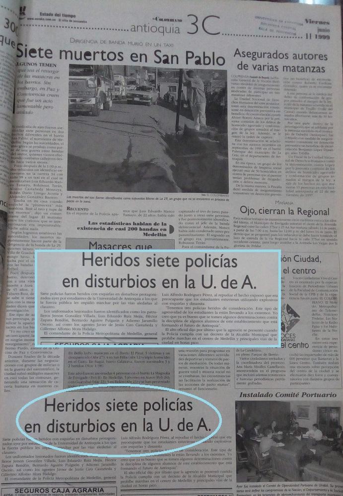 Fotografía tomada de la edición del 11 de junio de 1999 del periódico El Colombiano.