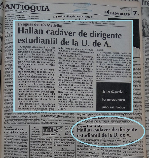 Fotografía tomada de la edición del 7 de abril de 1994 del periódico El Colombiano.