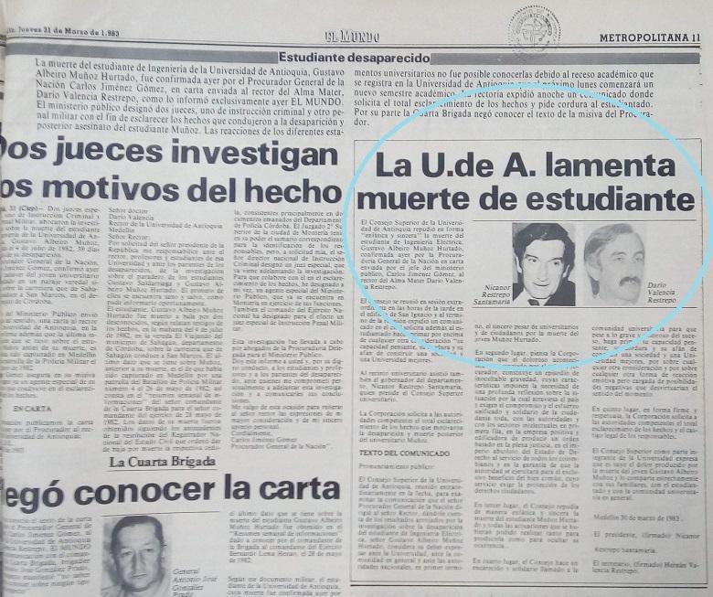 Fotografía tomada de la edición del 31 de marzo de 1983 del periódico El Mundo.