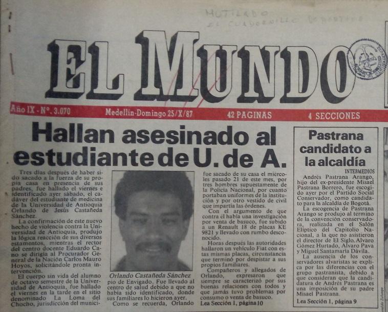 Fotografía tomada de la edición del 25 de octubre de 1987 del periódico El Mundo.