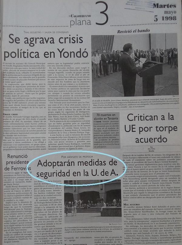 Fotografía tomada de la edición del 5 de mayo de 1998 del periódico El Colombiano.