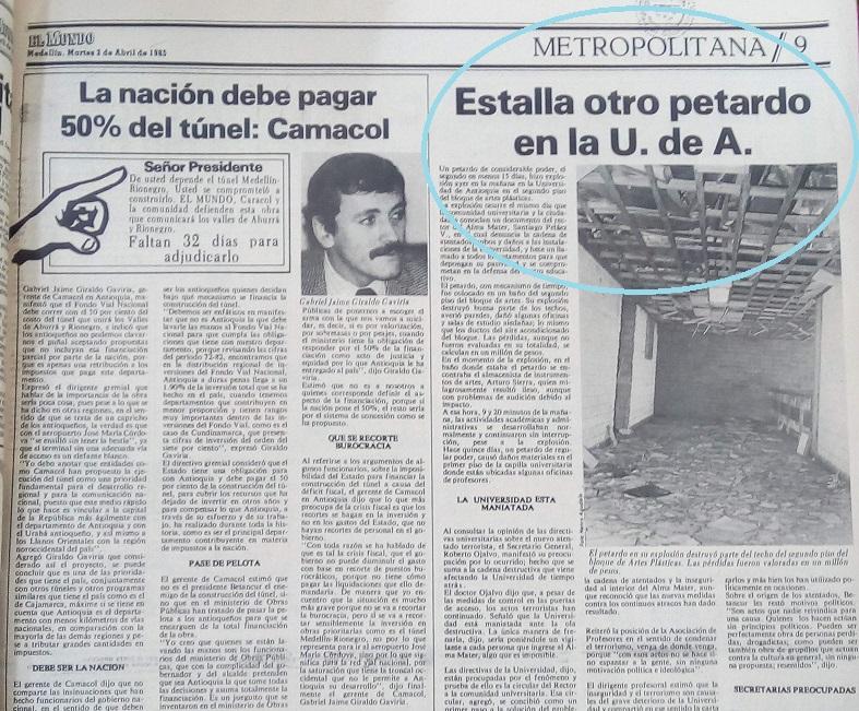 Fotografía tomada de la edición del 2 de abril de 1985 del periódico El Mundo.