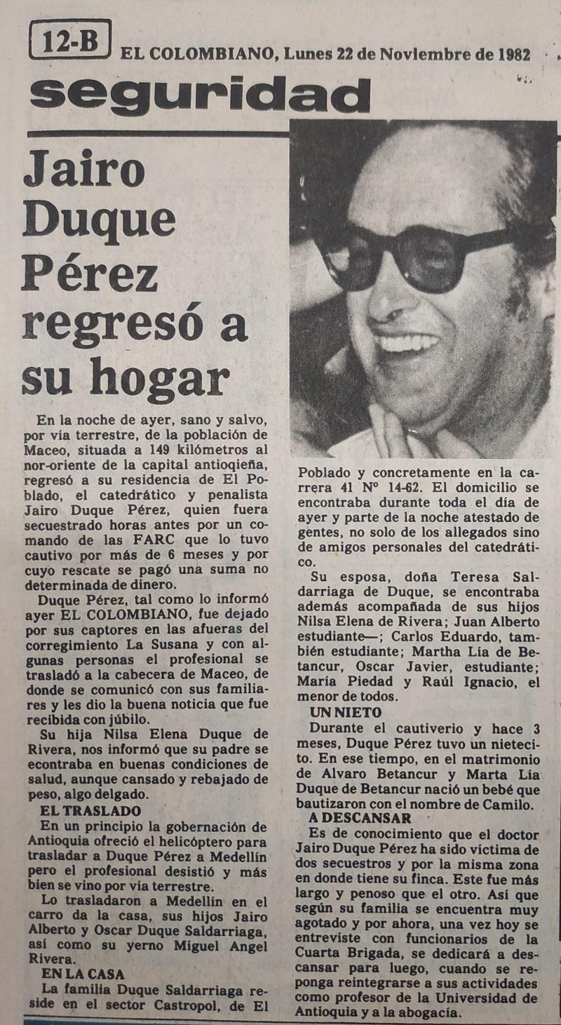 Fotografía tomada de la edición del 22 de noviembre de 1982 del periódico El Colombiano