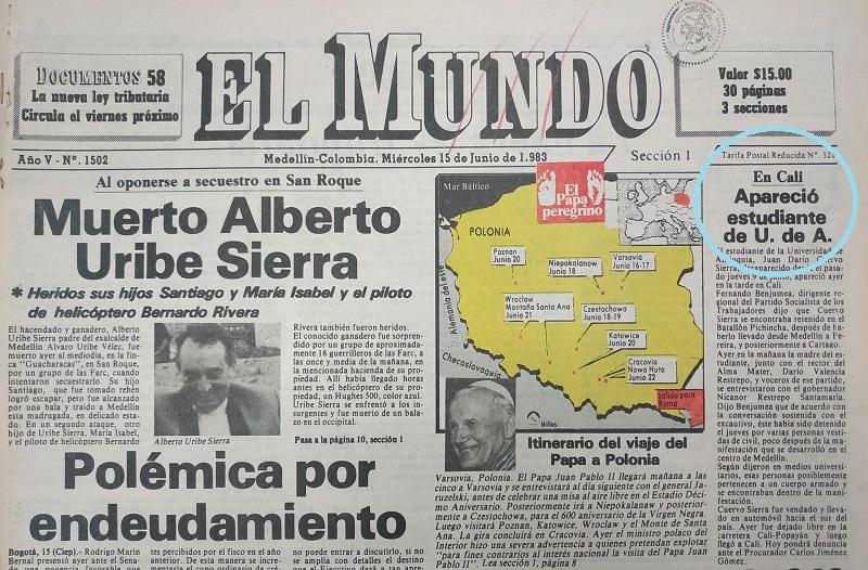 Fotografías tomadas de la edición del 15 de junio de 1983 del periódico El Mundo.