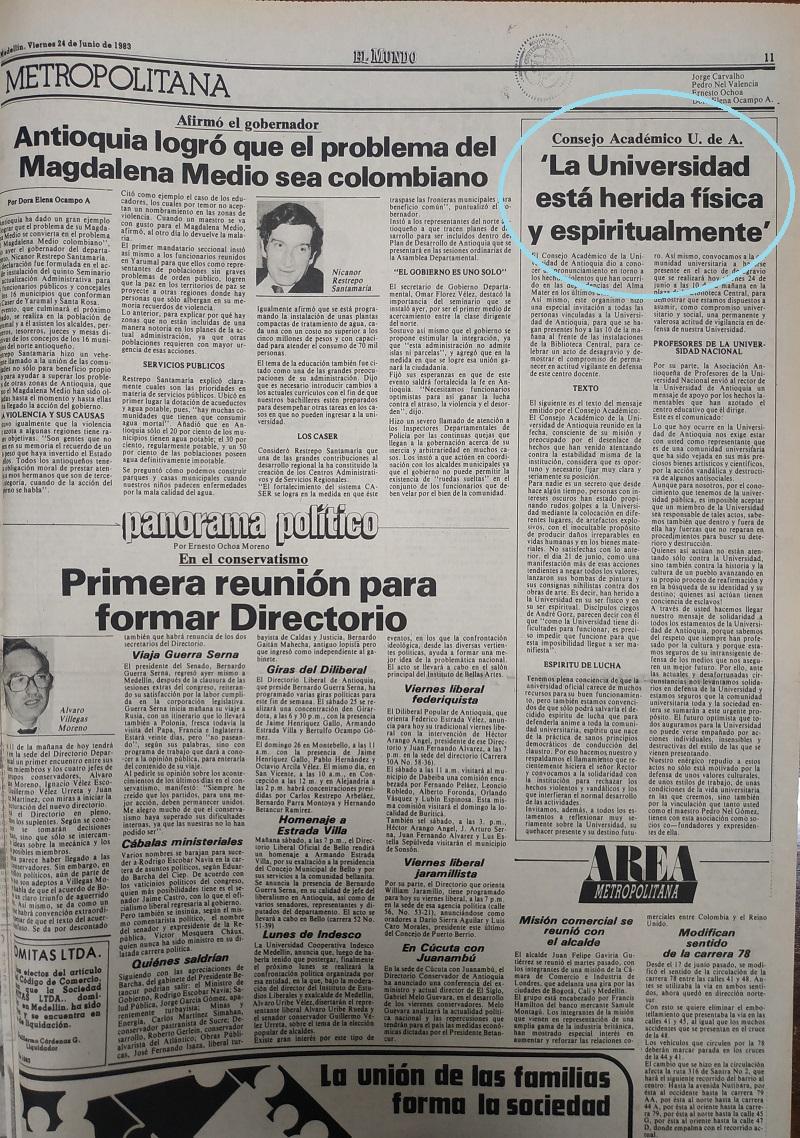 Fotografías tomadas de la edición del 24 de junio de 1983 del periódico El Mundo.