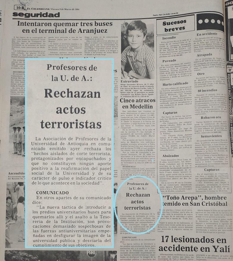 Fotografía tomada de la edición del 9 de marzo de 1984 del periódico El Colombiano.