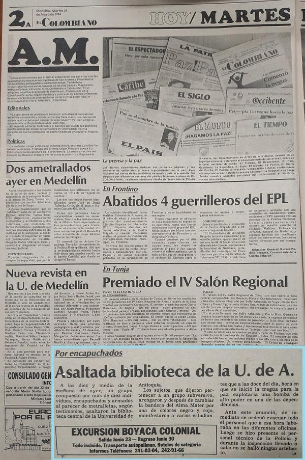 Fotografía tomada de la edición del 29 de mayo de 1984 del periódico El Colombiano.