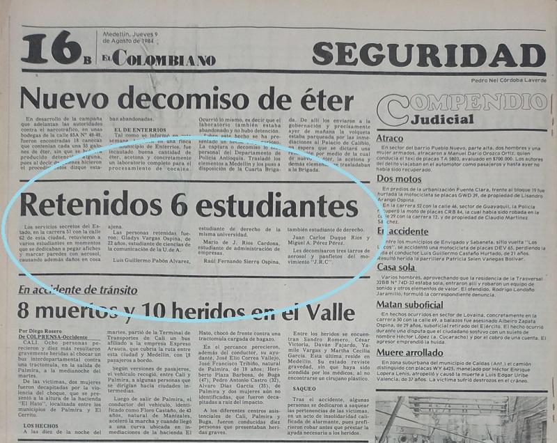 Fotografía tomada de la edición del 9 de agosto de 1984 del periódico El Colombiano.