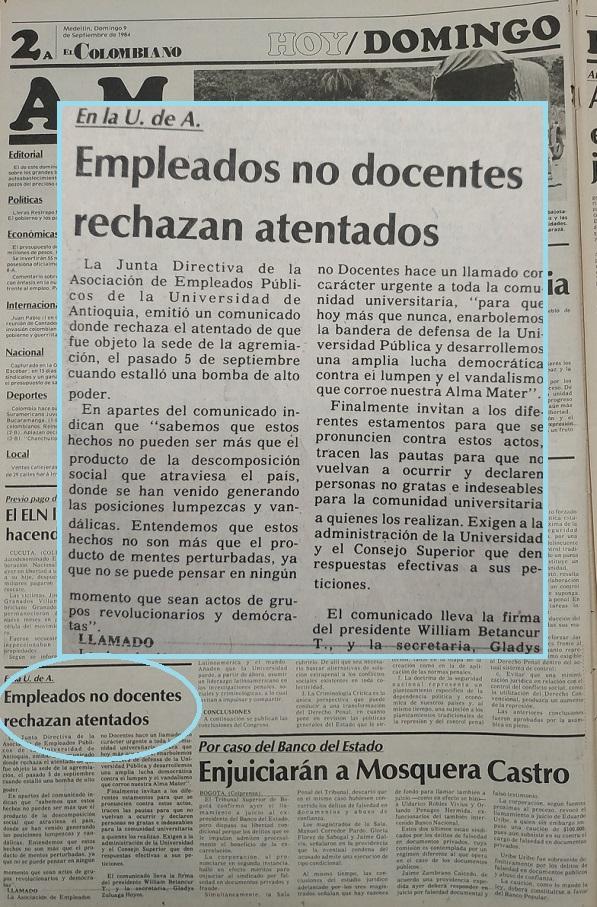 Fotografía tomada de la edición del 9 de septiembre de 1984 del periódico El Colombiano.
