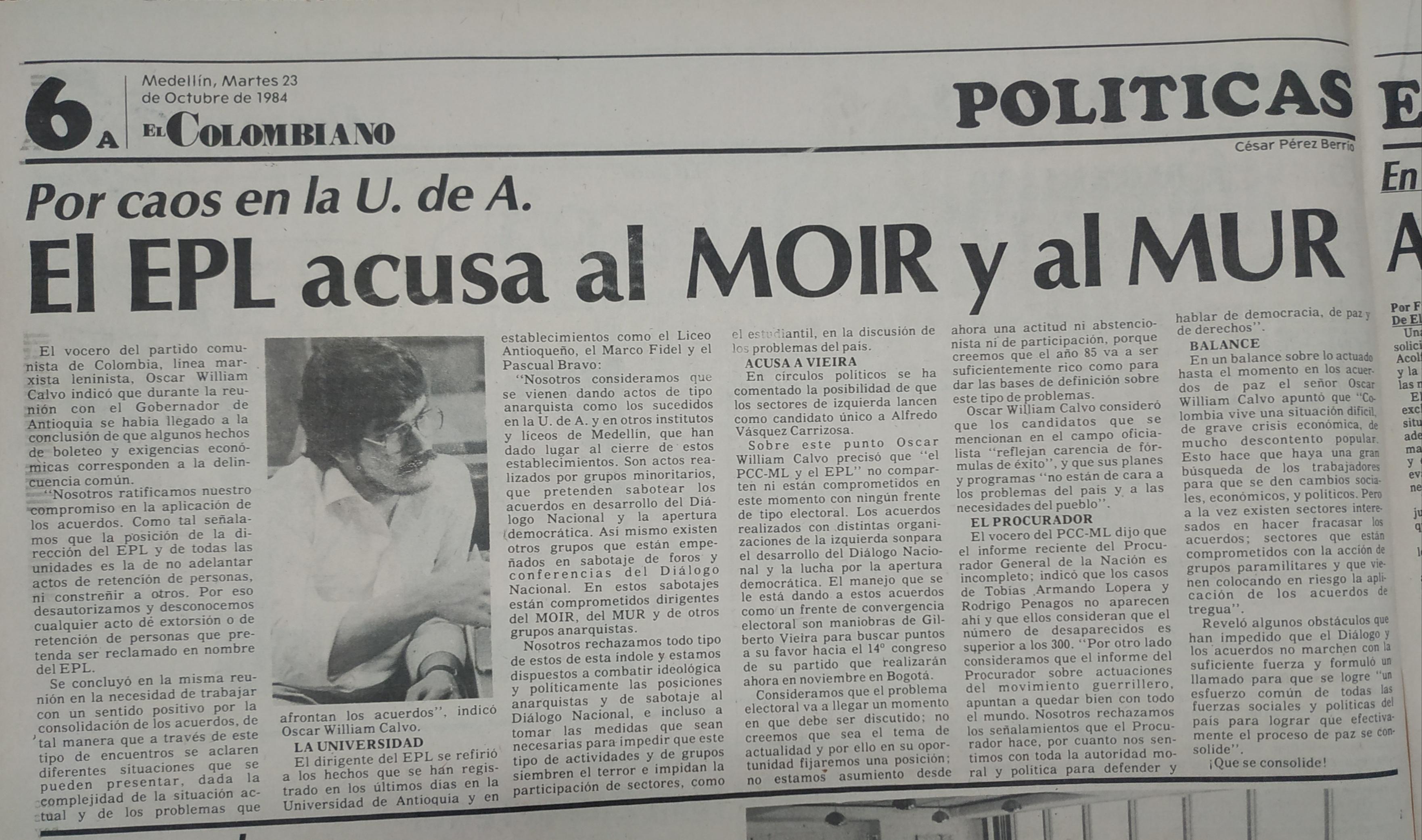 Fotografía tomada de la edición del 23 de octubre de 1984 del periódico El Colombiano.