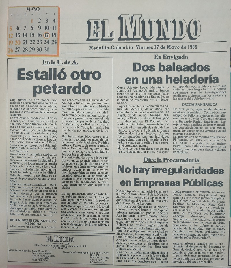 Fotografía tomada de la edición del 17 de mayo de 1985 del periódico El Mundo.