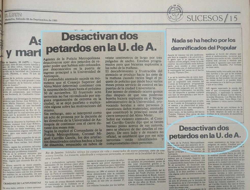 Fotografía tomada de la edición del 28 de septiembre de 1985 del periódico El Mundo.